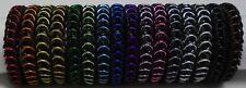 "8"" Chainmaille Stretch Bracelet, Black EPDM w/ 7 metal colours fits 7.5""-8.25"""