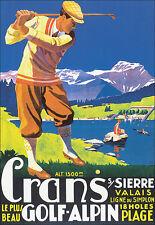 Art Poster - Crans  Sierre - Valais 18 hole Golf - Alpin Travel Holiday A3 Print