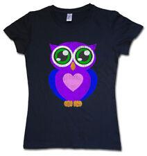 COMIC OWL DAMEN T-SHIRT Eule Cartoon Cute Hipster Indie Electro Tattoo burlesk