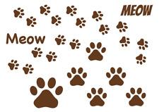 A4 Sheet Cat Footprints Meow Vinyl Wall Stickers