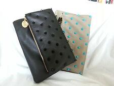 Deux Lux Handbag-Empire State Spiky Foldover Clutch Bag Purse Putty/Black NWOT