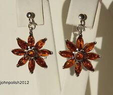 Wunderschönen Baltischen Bernstein Blumen Ohrringe mit Silber 925