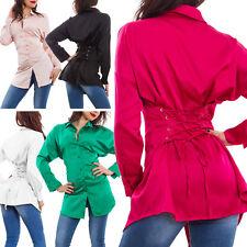 Camicia donna raso stringata stringhe lunga aderente elegante nuova GI-3030