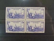 FRANCE N° 458 NEW YORK 1939 BLOC DE QUATRE NEUF** SANS CHARNIERE GOMME D'ORIGINE