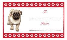PUG Christmas Birthday Gift labels Sticker Dog Animal Pet Lover