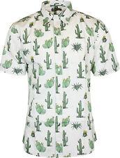 Run & Fly Mens Cactus Print Short Sleeved Shirt Vintage Retro Indie 80s