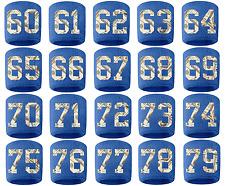 #60-79 Number Sweatband Wristband Football Baseball Basketball Royal Blue Money
