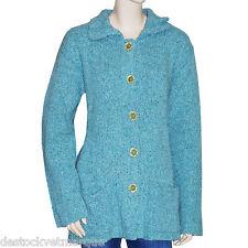 Gilet cardigan bleu turquoise lainage femme