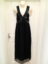 BLACK BEADS EMBELLISHED MAXI DRESS..GREY/BLACK OR WHITE.SIZE 10-14..BRAND NEW..