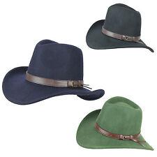Unisex Uomo Donna Vintage Lusso 100% lana grossa orlo COW BOY Fedora Hat 4 Taglie