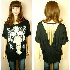 8-12 Womens Ladies Black Golden Cross Skull Studs In Black Loose Top T-Shirt