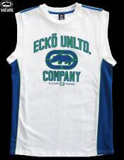 NWT ECKO UNLTD. Boys White Sleeveless Jersey with Blue & Green(Size Medium) NEW