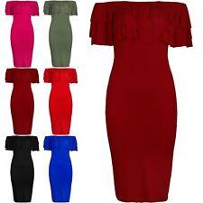 Women Off Shoulder Peplum Ruffle Frill Bardot Layered Bandage Bodycon Midi Dress