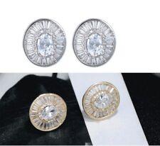 Fashion Sterling Silver Oval Cubic Zirconia CZ Stud Earrings Women PE24