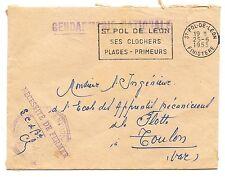 LETTRE GENDARMERIE NATIONALE SAINT POL DE LEON FINISTERE / TOULON 1953