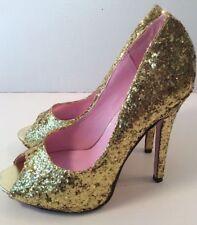 Gold Silver Glitter Peep Toe Shoes Heels 3.5 4.5 5.5 6.5 7.5 Burlesque