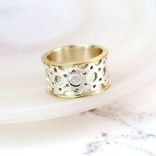Spinner Ring Sterling Silver & Brass Edged band ring thumb finger