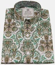 Relco Mens Paisley Floral Flower Long Sleeve Print Shirt Button Down Collar Mod