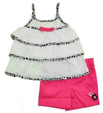 Girls New White/Blk/Hot Pink PMRuffled Hailstone Top/Summer 2 Piece Set–Size2,4