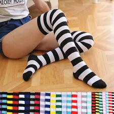 Girl Women Cotton Sock Long Thigh High Striped Over the Knee Slim Leg Stockings