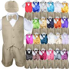 Baby Boy & Toddler Formal Vest Shorts Khaki Suit Extra Vest Bow Tie 7pc Set S-4T