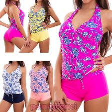 Bikini tankini donna costume bagno mare due pezzi fiori shorts top nuovo F8068