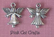 10 x HEART ANGEL Tibetan Silver 3D Charms Pendants Beads