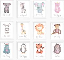 Safari Jungle Animals Nursery Prints Set, Baby Kids Room Pictures Wall Art Decor