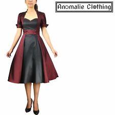 Chic Star Burgundy and Black Contrast Swing Dress - 1950s Retro Rockabilly