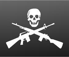 Skull with Crossed Guns Rifle Shotgun Vinyl Decal Car Truck Window Sticker