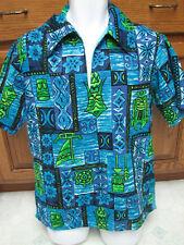 1960s Vintage retro Hawaiian shirt Tikis tribal art Rare print exotica RaRe