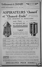 PUBLICITÉ ASPIRATEURS E.A.C FIXES CHANARD ÉTOILE POUR CHEMINÉE ET VENTILATION