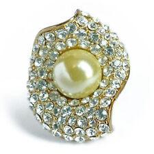 bague plaqué or jaune pavage cristal swarovski perle de verre nacrée beige crème