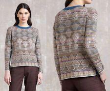 IVKO Wolle Pullover Glitzer Beige creme Streifen geometrische Muster wool 82625
