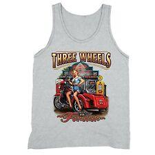 Three Wheels Motorcycle Tanktop Vehicle USA Blonde American Girl Tank Gray