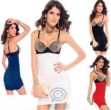 AU Spaghetti Strap Sexy Mini Bodycon Bra Stud Top Casual Summer Club Party Dress