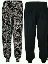 Women's Ladies New Ali Baba Harem Plain Leopard Aztic Print Trousers Pants