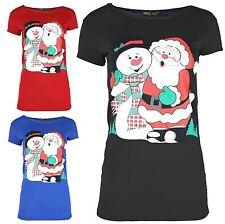 Femmes X-Mass stretch Noël T-shirts de Santa Snowman X-Mass Cadeau Hauts 36-50