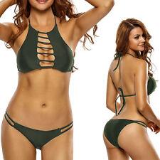 2017 Green High Neck Open Striped Padded Bikini Halter Cutout Bathing Suit M-XL