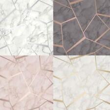 Fine Decor Fractal Geometric Marble Metallic Wallpaper Rose Gold Silver Charcoal