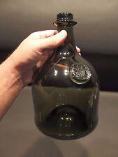 "10"" Antique Vintage Style Black Glass Blown Mallet Onion Wine Bottle Green"
