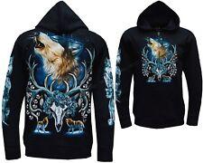 Wolf Wolves Antlers Eagle Native American Zip Zipped Hoodie Hoody Jacket M - 3XL