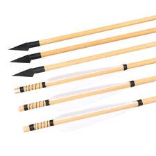 6/12PCS Natural Turkey Fletching Feather Arrowhead Archery Handmade Wood Arrow