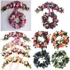 Romantic Silk Peony Door Wreath Ring Trim Flower Garland Wedding Venue Decor