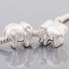 Grano de plata plateado Elefante europeo encanto Pulseras