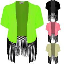 Women's Short Sleeve Open Front Chiffon Ladies Black Tasseled Kimono Shrug
