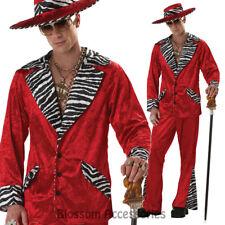 C35 Red Mens Pimp Velvet Gangster 1920s Suit Gatsby Hallowen Fancy Dress Costume