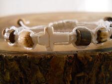 Macrame White Cross Bracelet Stone Cross Beaded Hemp Bracelet White Cross Anklet