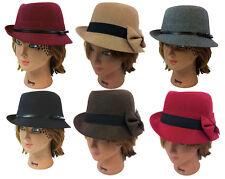 LADY FEDORA TRILBY WOOL FEDORA BUCKET WOMEN DRESS PARTY HAT CAP