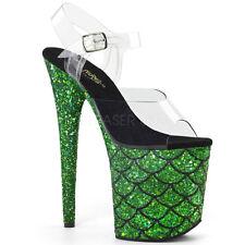 "Extreme 8"" Heel Platform Holograph Green Glitter Mermaid Sandals Cosplay 5-10"